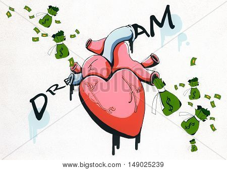 Abstract drawing of realistic heart money sacks and dollar banknotes on white background