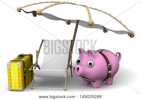 Lack of money on vacation. Pig piggy Bank wrap around strap and a sad look on the background of the lounger and beach umbrella. The concept of the lack of savings for a vacation or holiday. Isolated. 3D Illustration