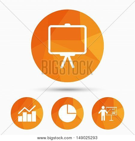 Diagram graph Pie chart icon. Presentation billboard symbol. Man standing with pointer sign. Triangular low poly buttons with shadow. Vector