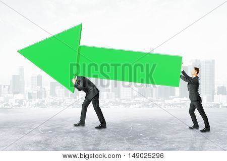 Two businesspeople carrying huge green business chart arrow on city background. Success concept 3D Rendering