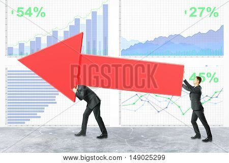 Two businessmen carrying huge red chart arrow on financial business report background. Teamwork and success concept. 3D Rendering