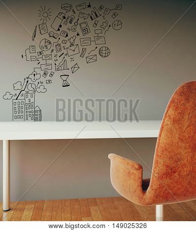 Interior with table armchair wooden floor and creative business sketch on concrete wall. 3D Rendering