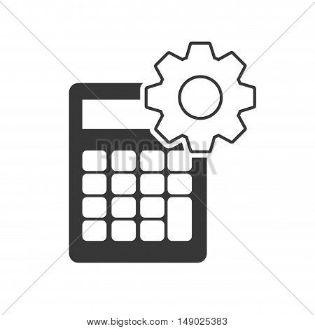 calculator financial maths device with gears wheel icon silhouette. vector illustration