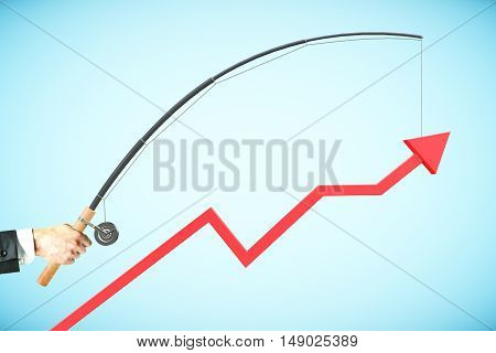 Upward chart arrow suspended on fishing rod. Blue background. Business management concept. 3D Rendering