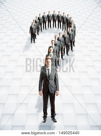 Question Mark Businessmen, Patterned Background