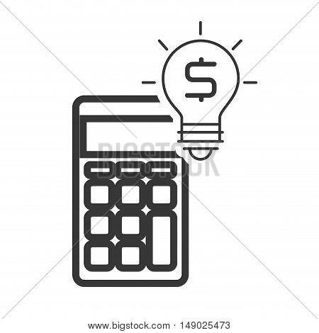 calculator financial maths device with bulb light icon silhouette. vector illustration