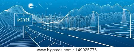 The road in the mountains, night city scene. Billboard with the word Motel. Neon town on background, white lines landscape, vector design art