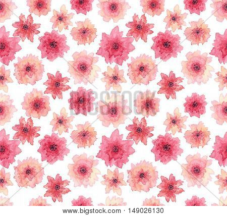 Watercolor Delicate Light Pink Flowers Seamless Repeat Pattern