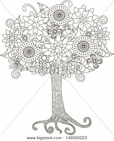 Blooming tree for coloring book, anti-stress vector illustration