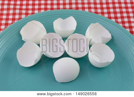 Broken empty eggshells on blue plate on tablecloth