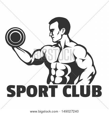 Bodybuilding. gym or sport club emblem. Bodybuilder doing exercise for biceps. Vector illustration.
