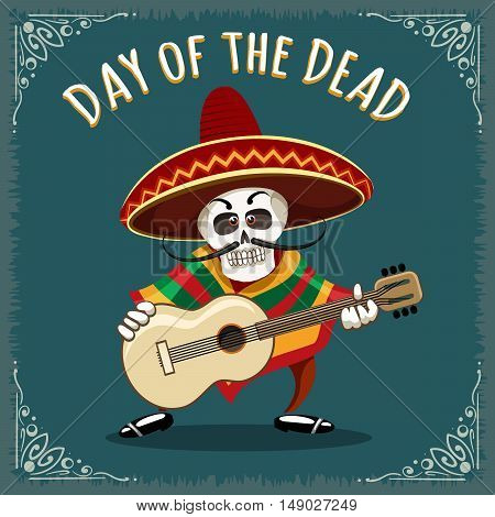 Day of the Dead illustration. Skull Mariachi guitar player drawn in cartoon style.