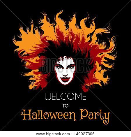 Welcome to Halloween Party Poster. Long haired Woman with fiery witch makeup. Vector illustration.