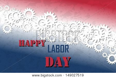 Happy Labor Day with Gears Banner. Labor Day Vector Background