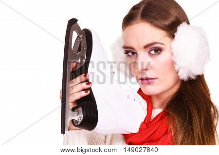 Pensive Woman With Ice Skates