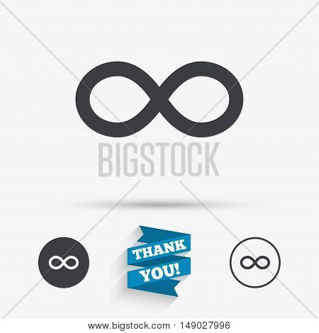 Repeat icon. Loop symbol. Infinity sign. Flat icons. Buttons with icons. Thank you ribbon. Vector