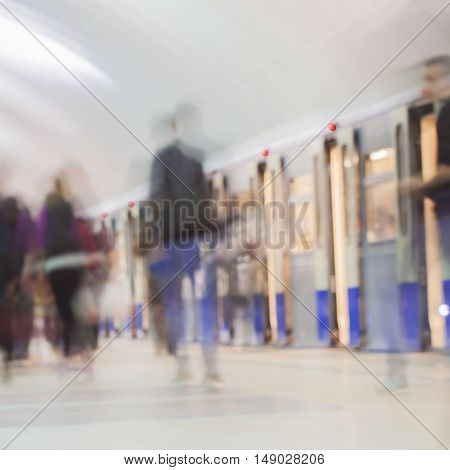 Abstract blurred subway for background. Crowd of people in a hurry on a subway train