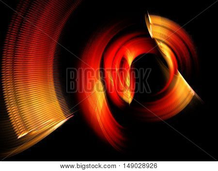 Abstract red and orange swirling fractal on black background