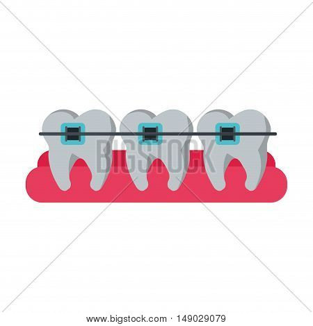 Teeth with bracers icon. Dental medical and health care theme. Isolated design. Vector illustration