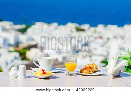 Perfect luxury breakfast table outdoors on Mykonos, Greece, Europe.