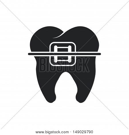 Tooth with bracers icon. Dental medical and health care theme. Isolated design. Vector illustration