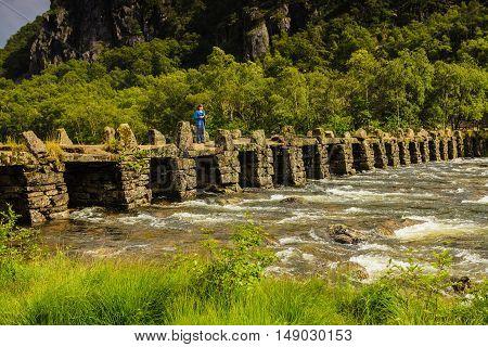 Tourist Woman On Bridge Terland Klopp In Norway