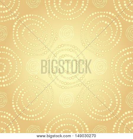Golden seamless pattern with gold gradient dots spirals vector eps10