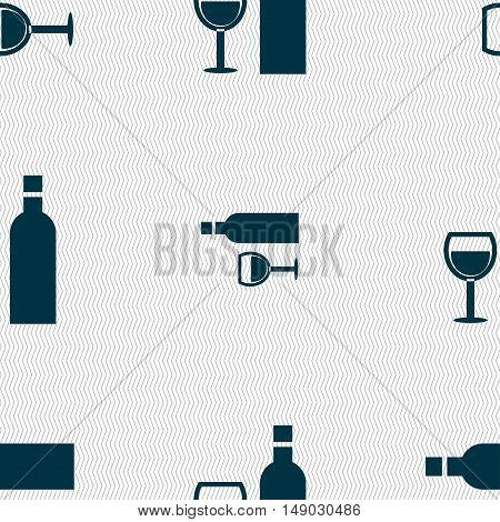 Wine Icon Sign. Seamless Pattern With Geometric Texture. Vector