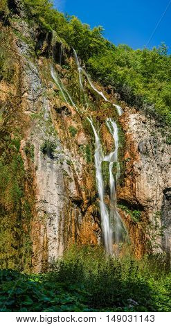 Grand view of Plitvice National Park, Croatia - the Big Waterfall