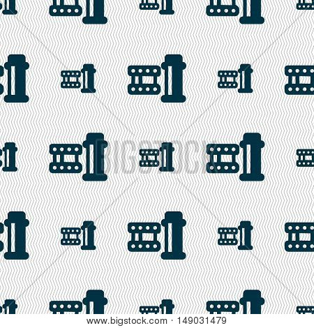Film Icon Sign. Seamless Pattern With Geometric Texture. Vector