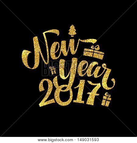 Gold Happy New Year Card. Golden Shiny Glitter. Calligraphy Greeting Poster Tamplate. Black Background. Glowing Illustration