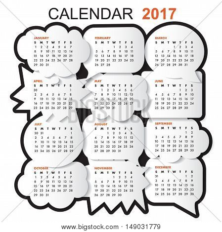 Calendar for 2017 with comic bubble on white background