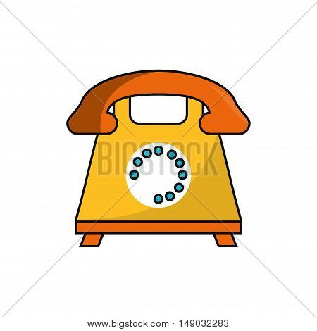 retro phone icon. call telephone and communication theme. Isolated design. Vector illustration