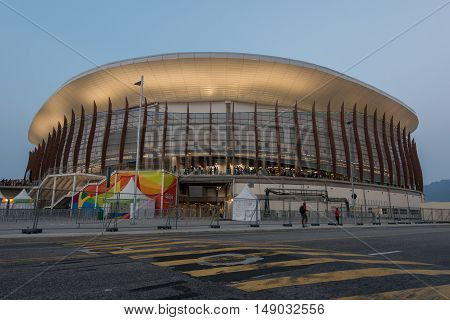 Rio de Janeiro, Brazil - September 17, 2016: Stadiums and sport venues in Barra Olympic and Paralympic Park for Rio 2016 games.