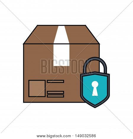 Package with padlock icon. Delivery shipping and industry theme. Isolated design. Vector illustration