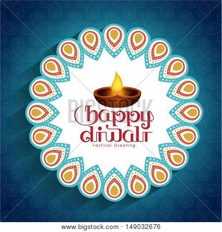 Illustration for Diwali festival with beautiful lamps