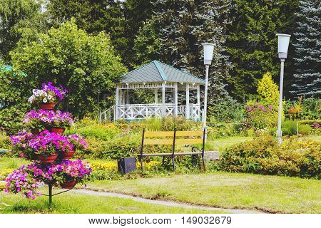 empty wooden summer house in a garden.