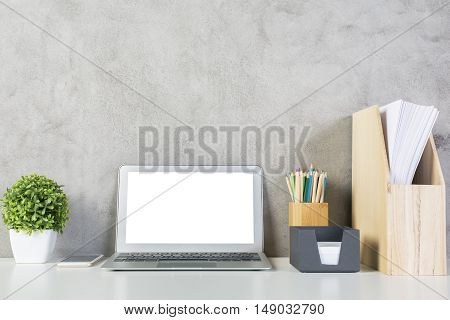 Office Desk With White Notebook