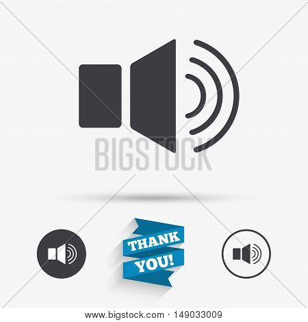 Speaker volume sign icon. Sound symbol. Flat icons. Buttons with icons. Thank you ribbon. Vector