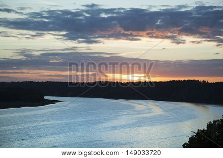 Nemunas River view after the Sun went down (Lithuania).