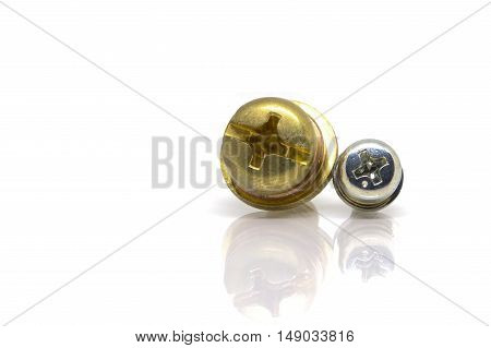 Brass screw for terminal of power supply in electric appliance.-Terminal screw.-isolated on white background