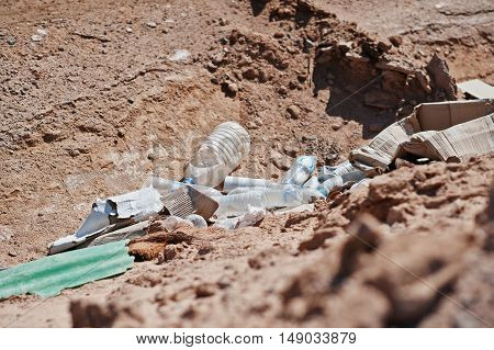 Lot Of The Plastic Garbage On Sand
