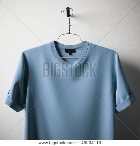 Closeup Blank Blue Color Cotton Tshirt Hanging Center Concrete White Empty Background.Mockup Highly Detailed Texture Materials.Clear Label Space for Business Message. Square. 3D rendering