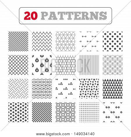 Ornament patterns, diagonal stripes and stars. Dumbbells sign icons. Fitness sport symbols. Gym workout equipment. Geometric textures. Vector