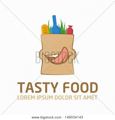 Tasty Food Shopping Logo design vector template. Products in package. Creative icon grocery bag with a smile. The emblem of wholesome foods. Shopping or Delivery Sign.