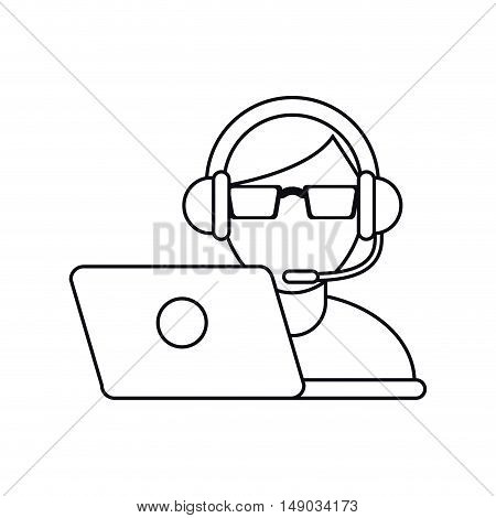 Operator man with headphone icon. Call center and technical service theme. Isolated design. Vector illustration