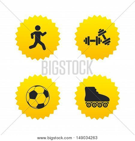 Football ball, Roller skates, Running icons. Fitness sport symbols. Gym workout equipment. Yellow stars labels with flat icons. Vector