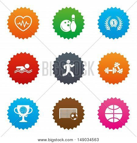 Sport games, fitness icons. Football, basketball and bowling signs. Swimming, runner and winner award symbols. Stars label button with flat icons. Vector