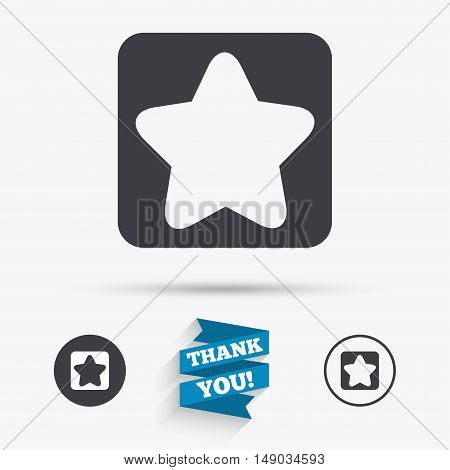 Star sign icon. Favorite button. Navigation symbol. Flat icons. Buttons with icons. Thank you ribbon. Vector
