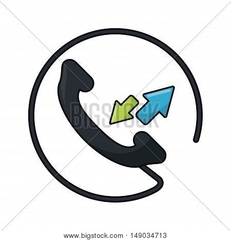 Traditional phone with arrows icon. call telephone and communication theme. Isolated design. Vector illustration